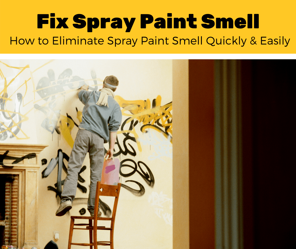 Man Spray Painting a Wall and Learning How to Get Rid of Spray Paint Smell