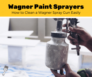 Man using a dirty paint sprayer and then cleaning it