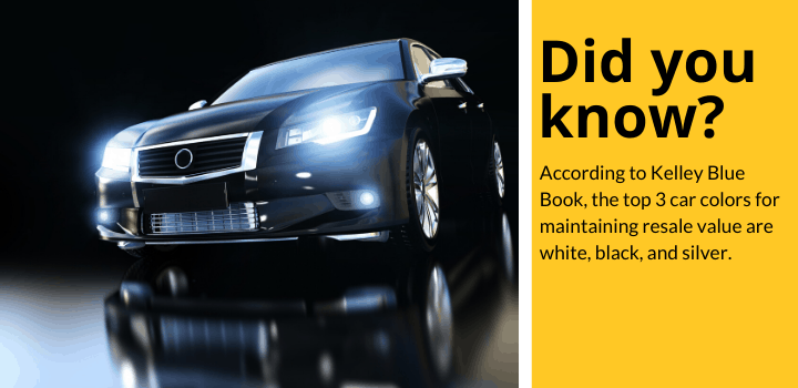 Did you know: According to Kelley Blue Book, the top 3 car colors for maintaining resale value are white, black, and silver.