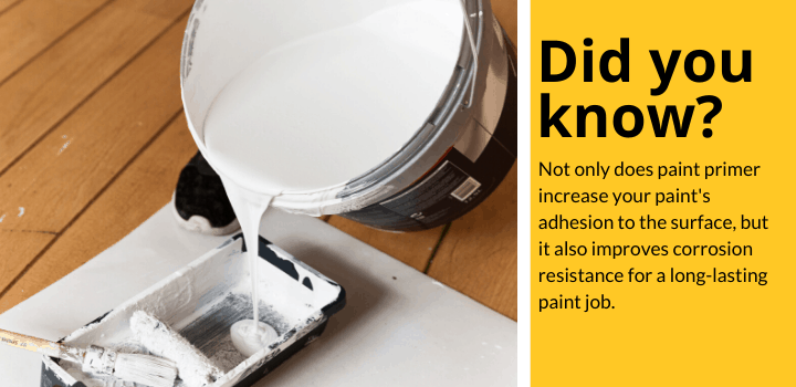Did you know: Not only does paint primer increase your paint's adhesion to the surface, but it also improves corrosion resistance for a long-lasting paint job.