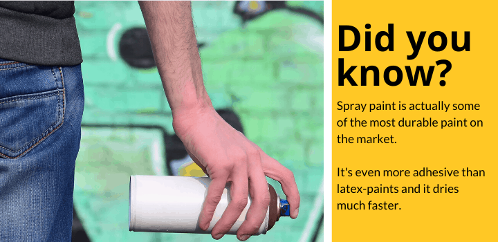 Did you know: Spray paint is actually some of the most durable paint on the market.  It's even more adhesive than latex-paints and it dries much faster.