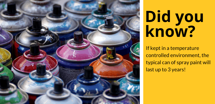 Did You Know: If kept in a temperature controlled environment, the typical can of spray paint will last up to 3 years!