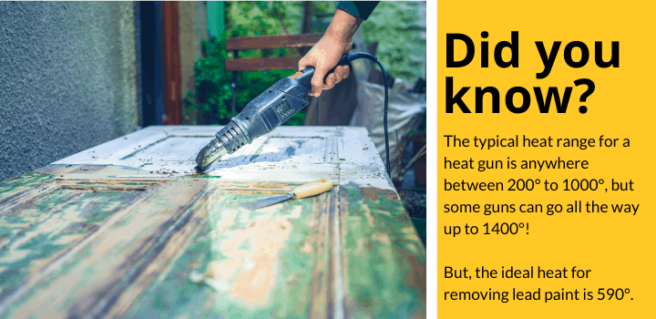 Did you know: The typical heat range for a heat gun is anywhere between 200° to 1000°, but some guns can go all the way up to 1400°! But, the ideal heat for removing lead paint is 590°.
