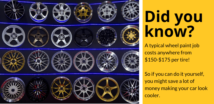 Did you know: A typical wheel paint job costs anywhere from $150-$175 per tire! So if you can do it yourself, you might save a lot of money making your car look cooler.