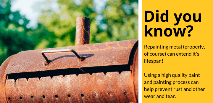 Did you know: Repainting metal (properly, of course) can extend it's lifespan!  Using a high quality paint and painting process can help prevent rust and other wear and tear.