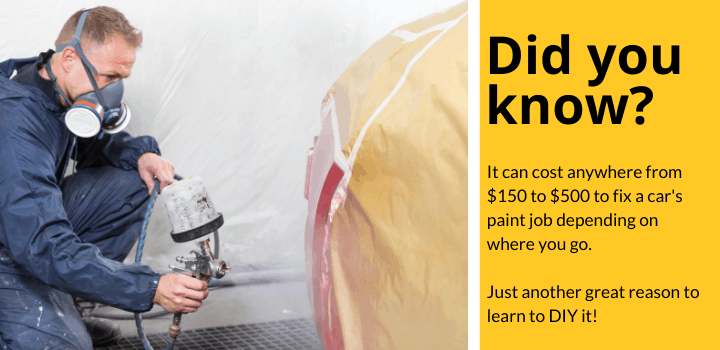 Did you know: It can cost anywhere from $150 to $500 to fix a car's paint job depending on where you go.  Just another great reason to learn to DIY it!