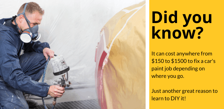 Did you know: It can cost anywhere from $150 to $1500 to fix a car's paint job depending on where you go. Just another great reason to learn to DIY it!