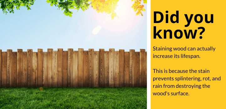 Did you know: Staining wood can actually increase its lifespan. This is because the stain prevents splintering, rot, and rain from destroying the wood's surface.